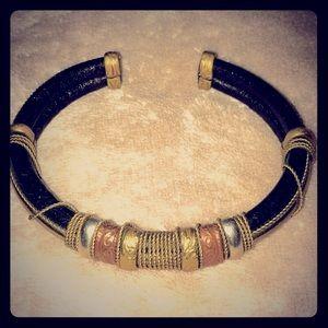 Copper,Brass,&silver-toned leather cuff bracelet